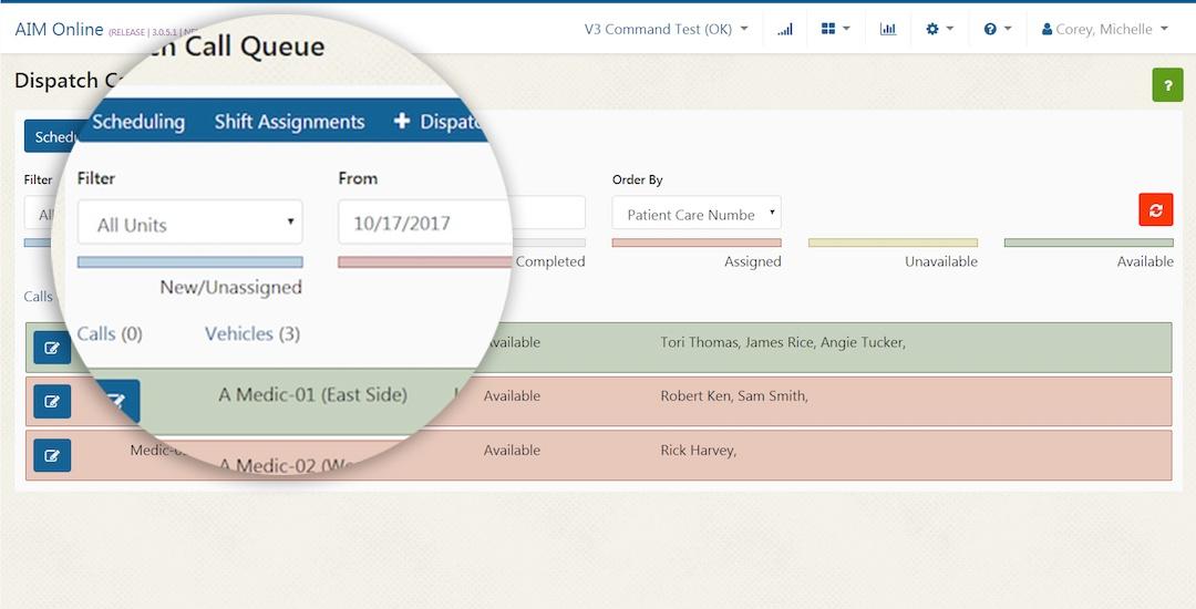AIM System EMS Dispatch Software Call Queue